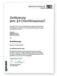 ESH Meisterteam - Bernd Hilgner - Zertifizierung gem. § 6 ChemKlimaschutzV