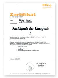ESH Meisterteam - Bernd Hilgner - Zertifizierung Sachkunde Kategorie 1